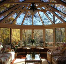 Interior of fully-furnished conservatory style sunroom