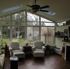 indoor view of solid cathedral roof sunroom addition