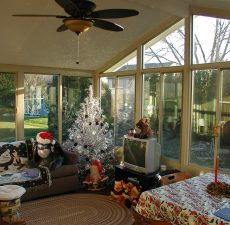 holiday decorated solid cathedral roof sunroom