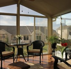 indoor view of mounted solid cathedral roof sunroom