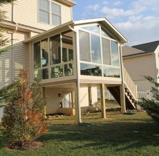 mounted solid cathedral sunroom deck